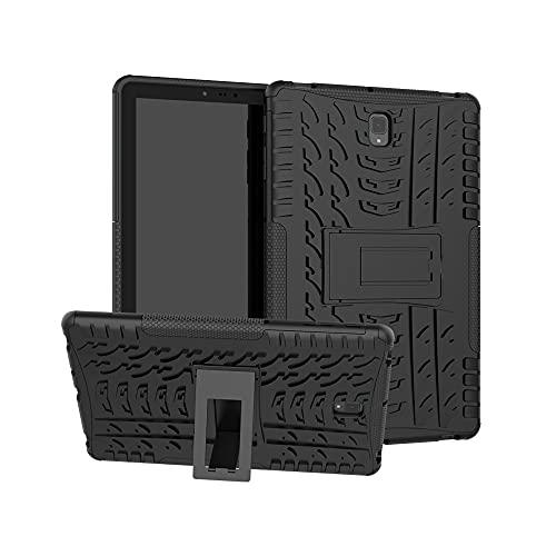 Tablets Duras Cubierta de Tableta para Samsung Galaxy Tab S4 10.5 Pulgadas T830 / T835 Textura de neumáticos TPU + PC Funda Protectora con Soporte de Mango Plegable Tablets Fundas (Color : Black)