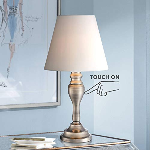 Thom Traditional Desk Table Lamp 19 1/4' High Brass Candlestick White Bell Shade Touch On Off for Bedroom Bedside Office - Regency Hill