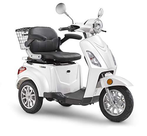 Elektroroller LuXXon E3800 - Elektro Dreirad für Senioren mit 800 Watt, max. 20 km/h, Reichweite bis zu 63 km, weiß