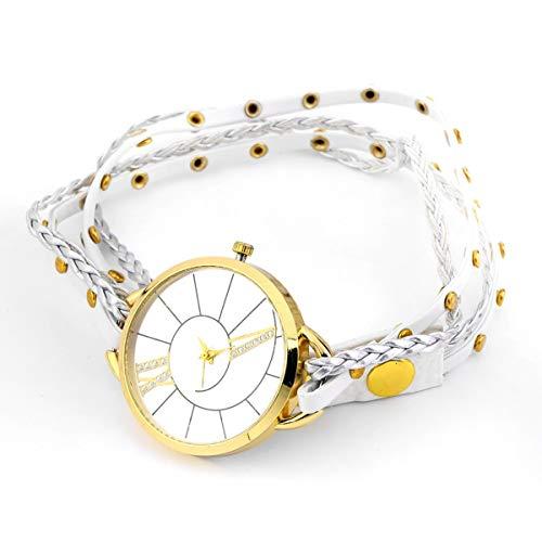 Tree-es-Life Reloj de Pulsera de Cuarzo de Pulsera de Cuero de Cuerda Trenzada de Cadena Elegante para Mujer de niña