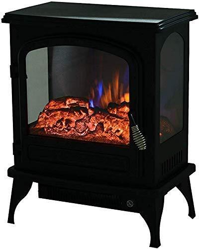 DFJU Elektroherd 2000 W realistische 3D-Flammeneffekt Sicherheitsthermostat Kamin Heizung Holzflammeneffekt dreiseitige freistehende Glaskamine