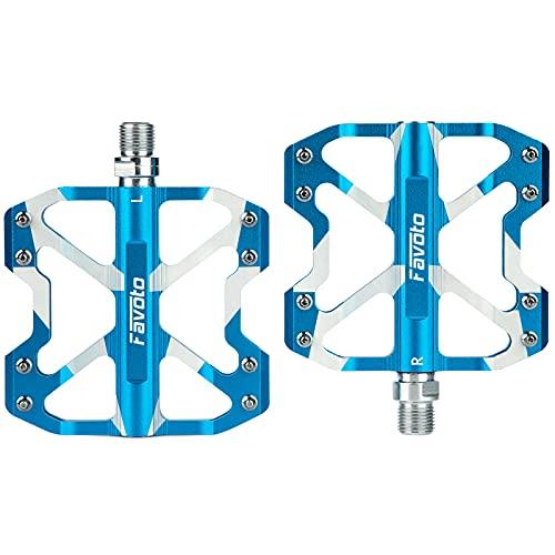 """Favoto Pédales pour Vélo, Pédale Léger Universel VTT BMX Montagne Route Urbain, Pedales Plates Antidérapant 9/16"""" en Alliage D'aluminium avec Roulements Scellés de Cyclisme, Blanc+Bleu"""