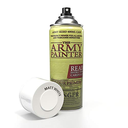 The Army Painter | Colour Primer | Matt White | 400 mL | Espray Acrílico | Base para Pintura de Modelos Miniatura | Blanco Mate