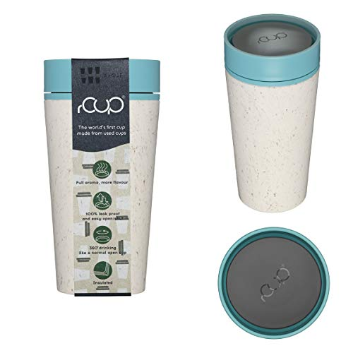 rCup - World's First Reusable Travel Cup Made from Recycled Single-Use Cups (Cream - Teal Blue 12oz/340mls)