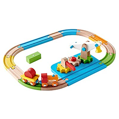 All Wood Crane & Gears Railway Train SET Brightly Colored with 13 Hardwood Tracks, 2 Cars, Crossing Gate, Cargo Pieces, Lift. Early Development Educational Toy for Toddlers, Pre-School by maxim enterprise, inc.