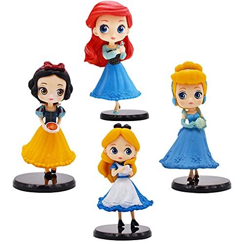 Hilloly Decoración para Tarta Princesa 4 pcs Princesa Cake Topper Mini Juego de Figuras Niños Fiesta de cumpleaños Pastel Decoración Suministros Decoración Fiesta de Boda