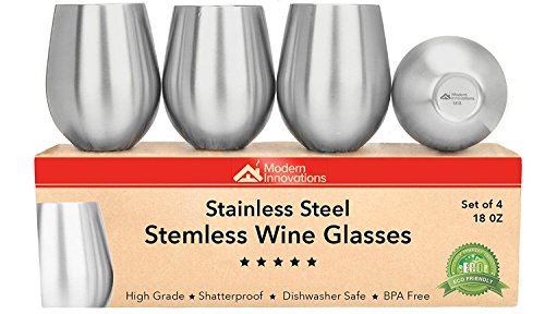 Stainless Steel Wine Tumblers, Set of 4, 18 Ounce Unbreakable Stemless Wine Glass – Premium Grade Stainless Steel Portable Wine Cup BPA Free Great for Daily, Formal and Outdoor Use