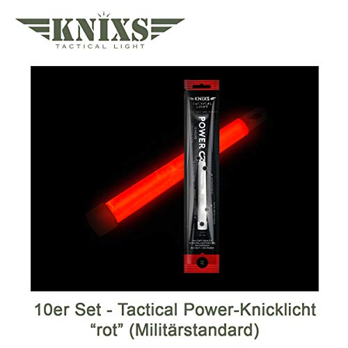 10er Set - Power-Knicklicht/Leuchtstab Tactical Light im Militär-Standard - rot leuchtend (6