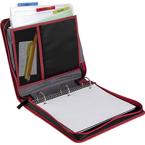 Five Star 2 Inch Zipper Binder, 3 Ring Binder, Removable File Folders, Durable, Red/Black (29036CE8) Photo #2
