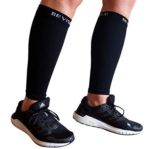 BeVisible Sports Calf Compression Sleeve Shin Splint Leg Compression Socks for Men & Women - Great for Running, Cycling, Air Travel, Support, Circulation & Recovery - 1 Pair (Black, Large - XL)