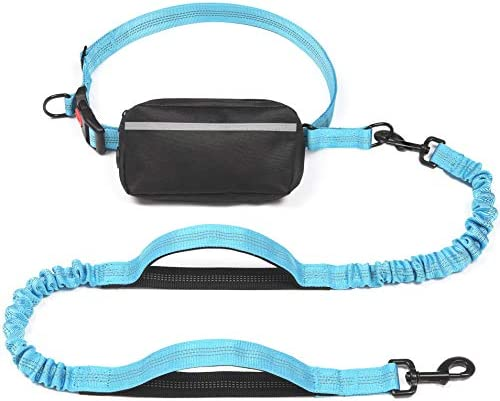 iYoShop Hands Free Dog Leash with Zipper Pouch Dual Padded Handles and Durable Bungee for Small product image