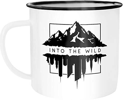 Autiga® Emaille Tasse Becher Into The Wild Berge Skyline Kaffee-Tasse weiß-schwarz unisize