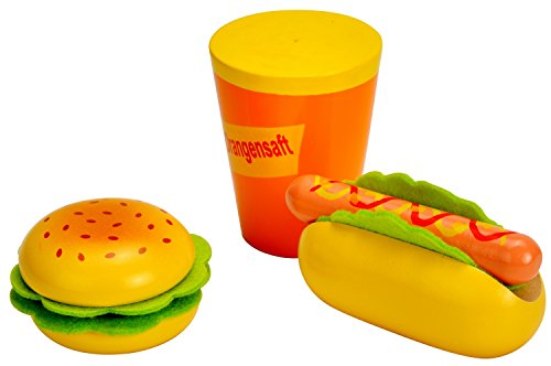 Idena 4100113 Kleine Küchenmeister Hamburger und Hotdog Set aus Holz, für Spielküche und Kaufmannsladen, ab 3 Jahre, ca. 15 x 16 x 6 cm