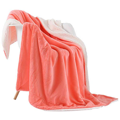 NANPIPER Fleece Throw Blanket Reversible Sherpa Flannel Blanket Super Soft Fuzzy Plush Microfiber for Bed/Couch (50'x60',Living Coral)