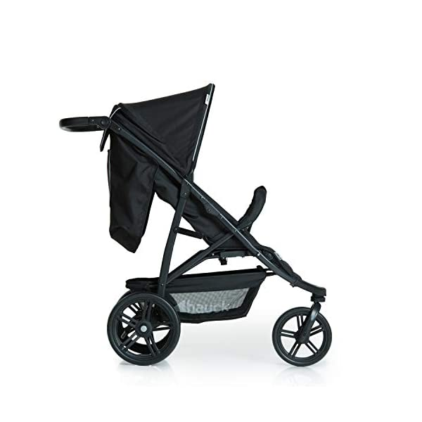 Hauck Rapid 3 Wheel Pushchair up to 25 kg with Lying Position from Birth, Small Foldable with One Hand, Height Adjustable Push Handle, Large Basket - Black Hauck LONG USE: The pushchair is suitable from birth (in lying position or in combination with the separate 2-in-1 Carrycot) and loadable up to 25 kg (seat unit 22 kg + basket 3 kg) EASY TO FOLD: This stroller folds away compactly and can be then carried with one hand only by the release loop COMFORTABLE: For the kid thanks to backrest and footrest adjustable into flat position, as well as for parents thanks to height-adjustable handle and large shopping basket 11