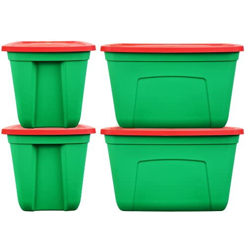 SimplyKleen 18-gal. Holiday Reusable Stacking Plastic Storage Containers with Lids, Red/Green (Pack of 4)