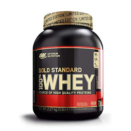 Optimum Nutrition ON Gold Standard Whey Protein Pulver, Eiweißpulver Muskelaufbau mit Glutamin und Aminosäuren, natürlich enthaltene BCAA, White Chocolate Raspberry, 73 Portionen, 2.27kg