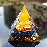スロベスストーンピラミッド60mmイエローアゲートボールとキヤニートクリスタルオルゴンライフエナジーシンボルシンボルシンボルシンボル静かな癒しの贈り物