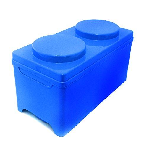 Outlook Design BRICK 1 Contenitore Impilabile a Forma di Mattoncino, Organizer Portaoggetti in Plastica ,Misura 17 x 35 x 17 H cm, Blu