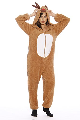 #FollowMe Adult Christmas Onesie For Women Sherpa One-Piece Pajamas, Reindeer Sherpa, Medium