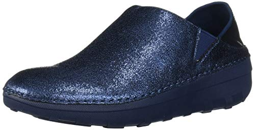 FitFlop Women's Superloafer Glitzy Clog, Meteor Blue, 8 M US