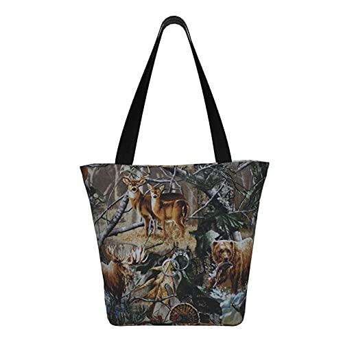 Teery-YY Bolsa de lona de camuflaje de oso de ciervo de caza para mujer, bolsa de hombro casual, bolsa de hombro, bolsa de viaje de playa reutilizable multipropósito resistente compras comestibles