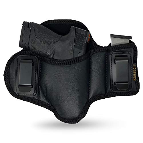 Tactical Pancake Gun Holster Houston - ECO Leather Concealed Carry Soft Material | Suede Interior for Protection | IWB | with Mag Pouch | Fit: Glock 19 23 32 26 27 33 30 | M&P Shield, Taurus PT111