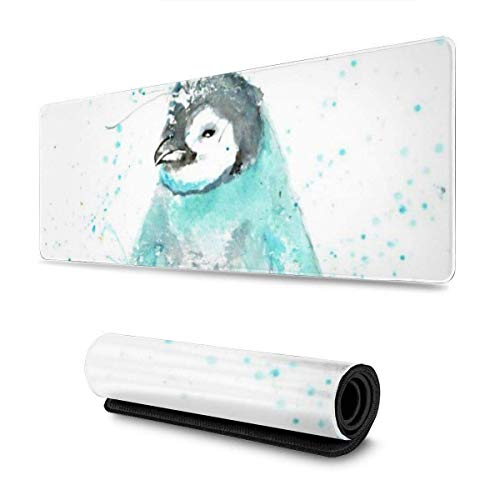 GamingMouse Pad Watercolor Penguin Design Pattern XXL XL Large Gaming Mouse Pad Mat Long Extended Mousepad Desk Pad Non-Slip Rubber Mice Pads Stitched Edges (31.5x11.8x0.12 Inch)