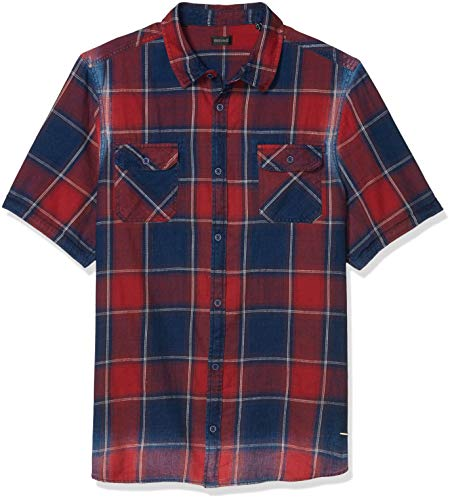 Buffalo David Bitton Herren Short Sleeve Button down denimex Shirt Hemd, Fahrrad-Rot, Groß