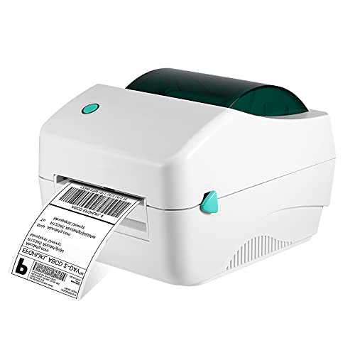 H HUKOER Impresora Térmica Bluetooth, 108 mm Impresora portátil de Etiquetas con Sensor de Movimiento, Disco en U y 330 Hojas de Papel de impresión de Etiquetas de 10 cm x 15 cm