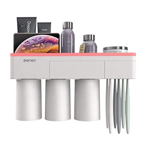 Local Makes A Comeback tandenborstel, eenvoudige ondersteuning, zonder nagelmontage, geen schade aan de muur, praktische opbergdoos, 3 kopjes (roze)