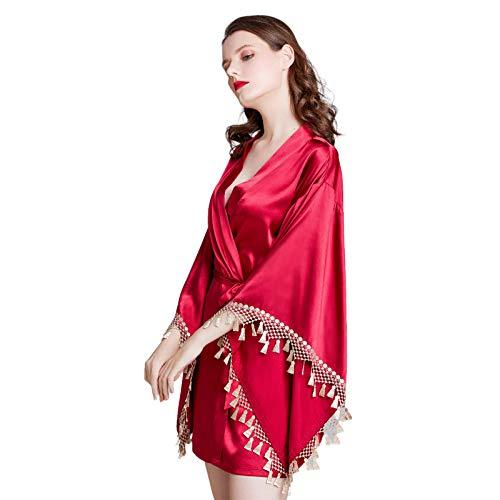 ZZJCY Camisón De Pijama Sexy para Mujer, Bata Kimono con Cinturilla, Cárdigans De Kimono para Mujer, Boda, Niña,L