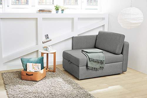 lifestyle4living Sessel in grauem Feinstrukturstoff, Funktionssessel inkl. Gästebettfunktion und Bettkasten, Vielfälltig einsetzbar und EIN gemütlicher Schlafplatz