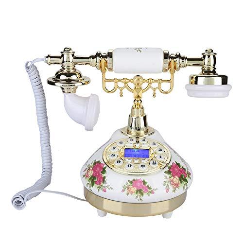 Cuifati Teléfono Antiguo, teléfono Fijo Digital clásico Tono de Llamada de teléfono Fijo Retro Europeo clásico Ajustable con función de rellamada y Pausa, Sistema Dual FSK/DTMF