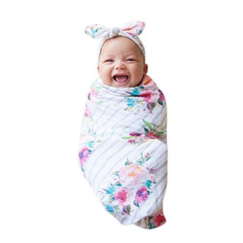 URSING_Babykleidung 2er Set Neugeborenes Swaddle & Burp Blanket Puckdecke/Spuckdecke Wickeltuch Decke Schlafende Swaddle Muslin Wrap Babydecke Sommerdecke Kuscheldecke + Niedlich Stirnbänder (Weiß)