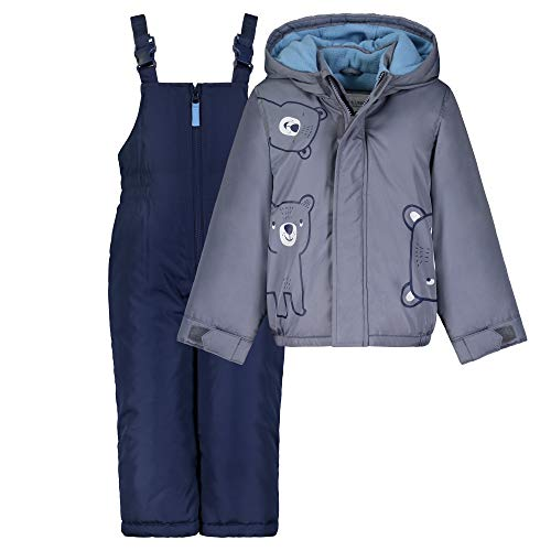 Carter's Boys' Heavyweight 2-Piece Skisuit Snowsuit Set, Grey Bear/Navy, 2T