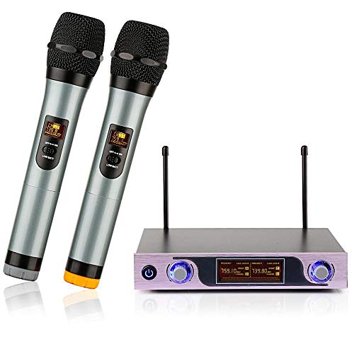 ARCHEER VHF Wireless Microphone System???Handheld Wireless Microphones for Outdoor Wedding, Conference, Karaoke, Evening Party, Rose Gold