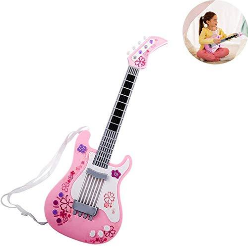 xxz Guitarra eléctrica de Juguete, Instrumentos Musicales sin Cuerda con Cable de Carga USB Juguete Educativo, para niños Regalo de cumpleaños Favor de Fiesta Rosa