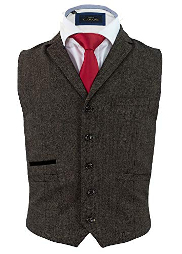 Cavani Herren Martez Tweed Klassisch Slim Fit Weste, Braun, 54 EU/44 UK
