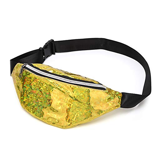 Korean Style Shiny Bling Sporting Fanny Pack Waist Bag Zipper Crossbody Purse Shoulder Bag for Woman & Girl (Gold)