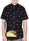 Visive Hawaiian Shirt for Mens Short Sleeve Black Taco Button Up Down Casual Shirts XL