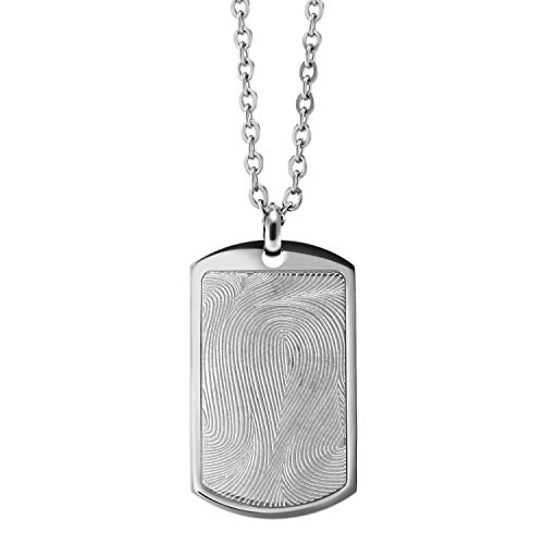 555Jewelry Mens Stainless Steel Metal Fingerprint Jewelry Memorial Unisex Rectangle Gift Chain Hanging Dog Tag Jewelry Accessory 2 Inch Extension Pendant Necklace, Silver
