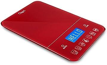 Ozeri Touch III Balança digital de cozinha com contador de calorias em vidro temperado, motor vermelho