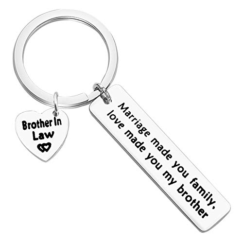 Brother in Law Gift Keychain Marriage Made Us Family Love Made You My Brother Keychain Brother of The Bride keychain Wedding Birthday Christmas Thanksgiving Day Gift for Brother in Law