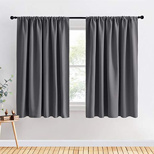 PONY DANCE Blackout Curtains for Bedroom - Window Covering Set Home Decoration Curtains Light Blocking Soft Rod Pocket Drapes for Living Room, 70 x 63 in, Grey, 2 Pieces