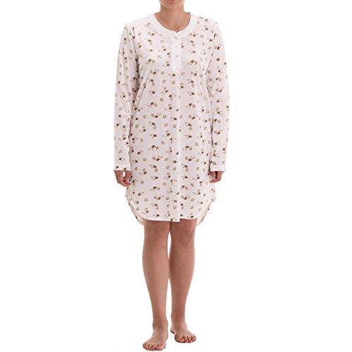 Zeitlos Nachthemd Damen Langarm Knopfleiste Spitze Nachtwäsche, Farbe:beige, Größe:2XL