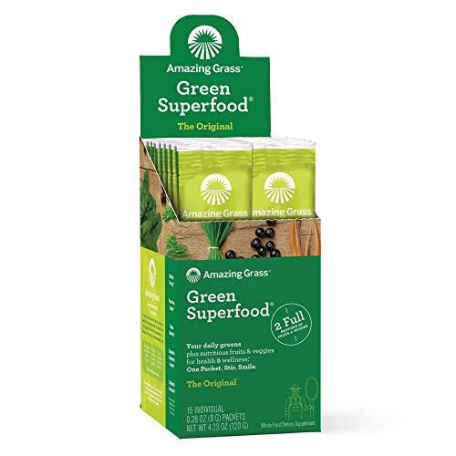 Amazing Grass Green Superfood: Super Greens Powder with Spirulina, Chlorella, Digestive Enzymes & Probiotics, Original, 15 Servings