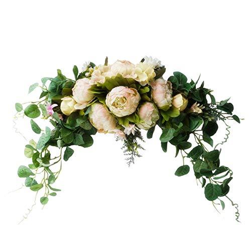 Adorno Decorativo de Arco Artificial de Flores Puerta Frontal Colgante para La Decoración de La Pared del Hogar