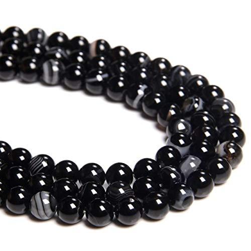 Cuentas de ágata ahumadas grises, cuentas de piedra natural, a rayas, redondas, sueltas, para hacer joyas, pulseras, collares, hechos a mano