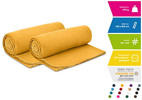 wometo 2er Set Polar- Fleecedecke 130x160 cm ca. 400g wertiges Gewicht OekoTex mit Anti-Pilling Kettelrand Farbe gelb in vielen bunten Farben
